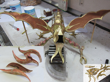 Dragonfly Fighter Sculpture - Developing the head and feet