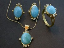 Larimar suite in 18k Gold